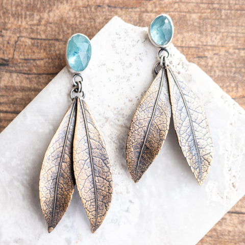 Aquamarine Bronze Leaf Earrings