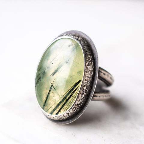 Size 9 | Oval Prehnite Ring