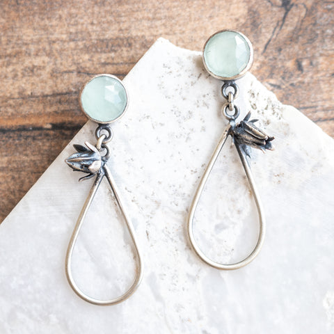 Aquamarine + Flower Teardrop Earrings