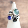 Size 7.5 | Aquamarine + Lapis Stacking Rings