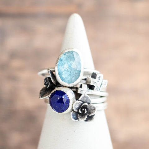 Size 8.75 | Faceted Aquamarine + Lapis Stacking Rings