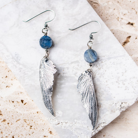 Kyanite Hummingbird Wing Earrings