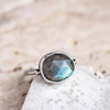 Size 7.75-8 | Labradorite Ring with Gold Detail