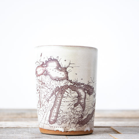 Michigan Map Tumbler | Oatmeal