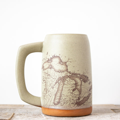 Michigan Map Stein | Oatmeal