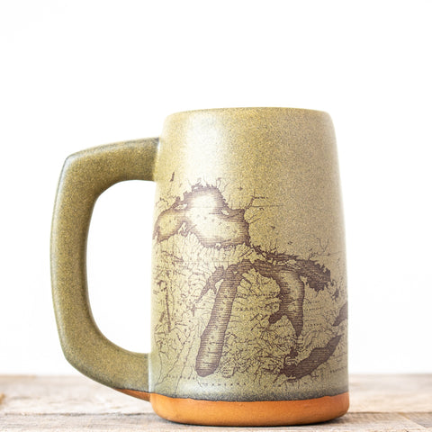 Michigan Map Stein | Green