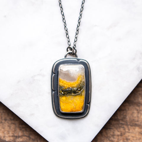 Bumblebee Jasper Rectangle Necklace
