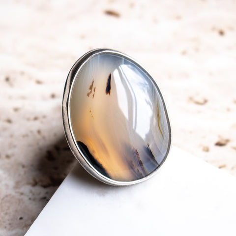 Size 8.75 | Montana Agate Leaf Ring
