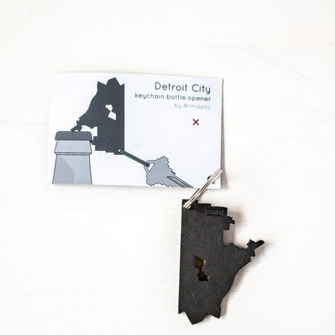Detroit City Bottle Opener Keychain