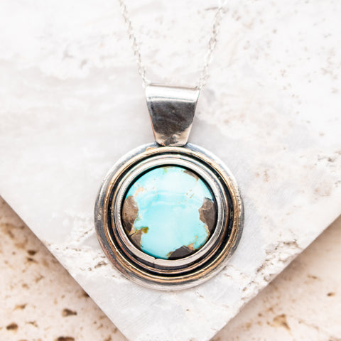 Tyrone Turquoise Moon Medallion Necklace
