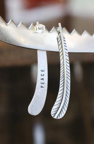 Peace- Feather Post Silver Earrings - Artisan's Bench - 1