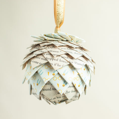 Harry Potter White Golden Snitch Book Page Ornament