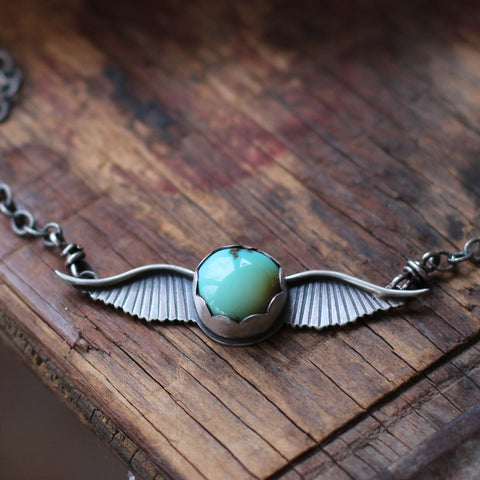'Love Takes Flight' Turquoise Winged Necklace