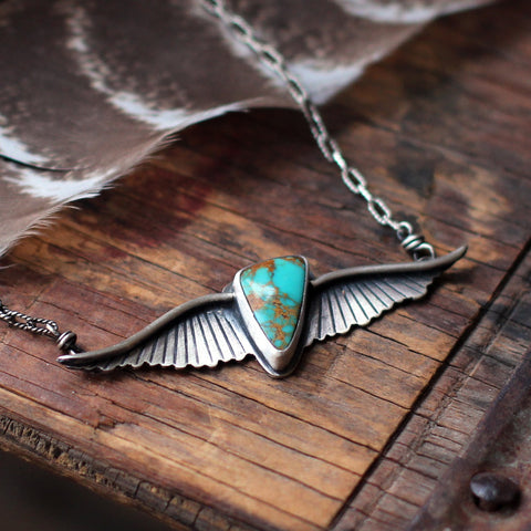 'Go Easy' Turquoise Winged Necklace