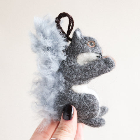Gray Squirrel Felt Ornament