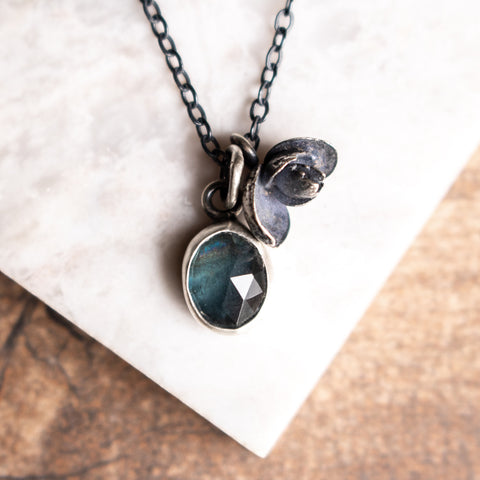 Moss Aquamarine Succulent Necklace