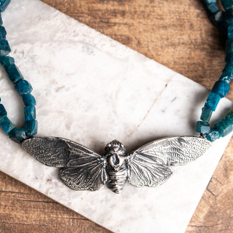 Cicada + Apatite Beads Necklace
