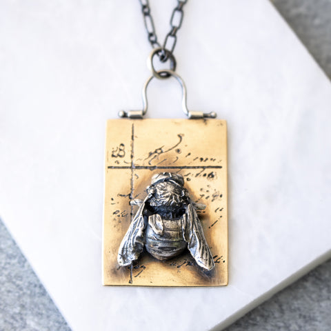 Honey Bee + Brass Pendant