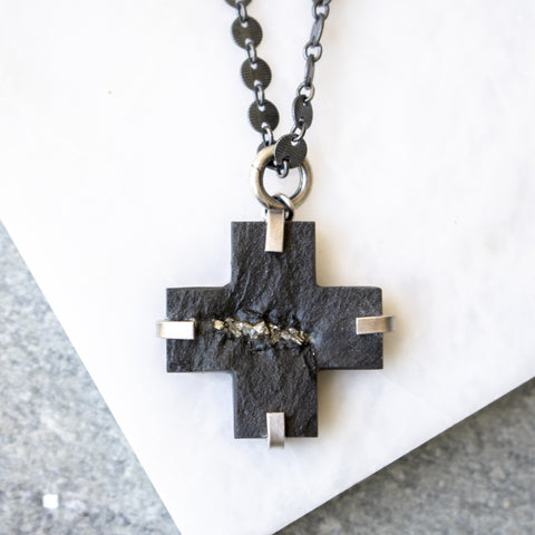 Slate + Pyrite Plus Sign Necklace