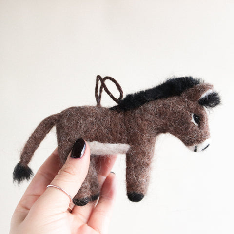 Brown Donkey Felt Ornament
