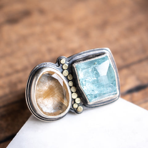 Size 6.75 | Aquamarine + Rutilated Quartz Ring