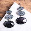 Black Sapphire Lunar Cairn Earrings