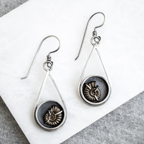 Ammonite Teardrop Earrings | Carin Jones - Artisan's Bench