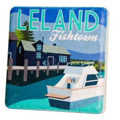 Leeland Fishtown Travel Poster Coaster - Artisan's Bench - 1