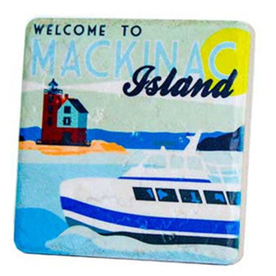 Mackinac Island Ferry Travel Poster Coaster - Artisan's Bench - 1