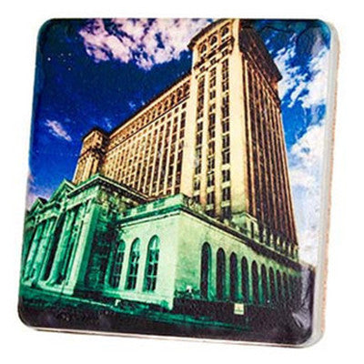 Michigan Central Train Station Night Coaster - Artisan's Bench - 1