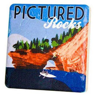 Pictured Rocks Travel Poster Coaster - Artisan's Bench - 1