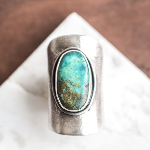Size 7-7.5  | Tibetan Turquoise Shield Ring