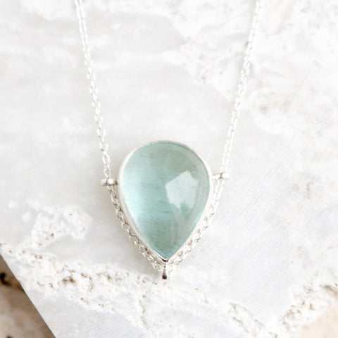 Aquamarine Teardrop Necklace no.1 - Artisan's Bench