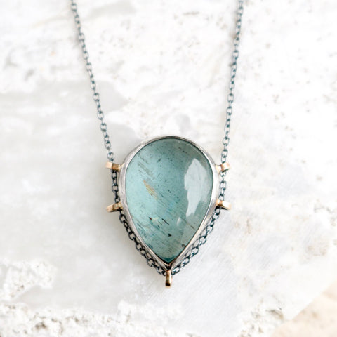 Aquamarine Teardrop Necklace no.2 - Artisan's Bench