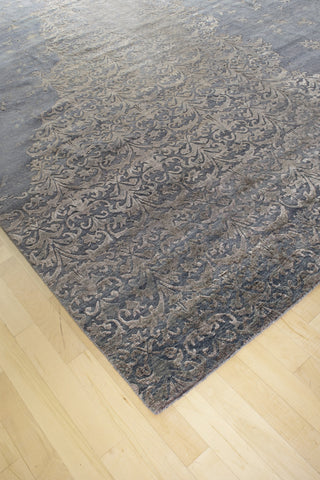 Broken Design Grey Wool and Silk Rug 10 x 14 (9257) - Artisan's Bench