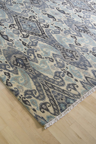 Grey & Blue Ikat 9x12 (8935) - Artisan's Bench - 1