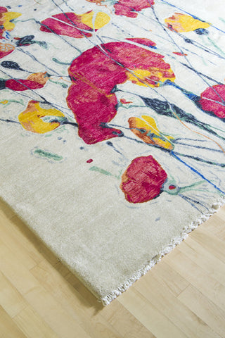 Floral on White Rug 8x10 (8915) - Artisan's Bench