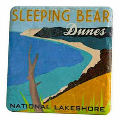 Sleeping Bear Dunes Travel Poster Coaster - Artisan's Bench - 1