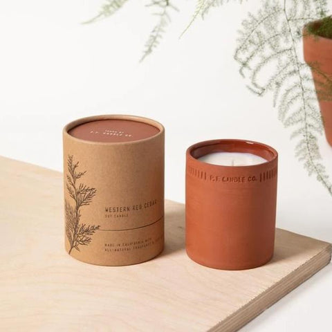 Terra Cotta Candle | Western Red Cedar