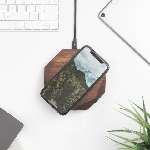 Walnut Faceted Wireless Charger