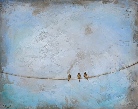 Birds on a Wire | 10x8 Painting | Blue