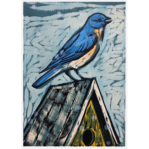 Bluebird 16x20 | Woodblock Print