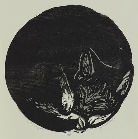 Curled Cat 16x16 | Woodblock Print
