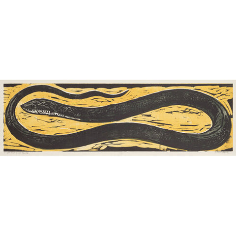 Eight Foot Black Snake 16x40 | Woodblock Print