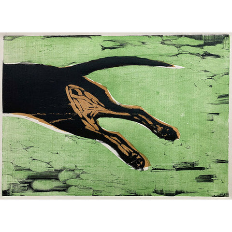 Fast Dog 16x20 | Woodblock Print