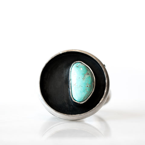 Tyrone Turquoise Quarter-Moon Ring | Size 9