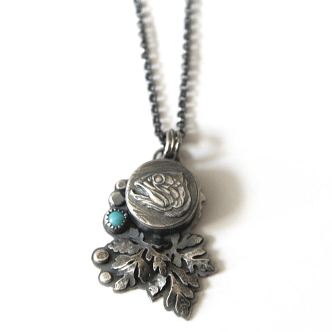 Turquoise Fish & Leaves Statement Necklace