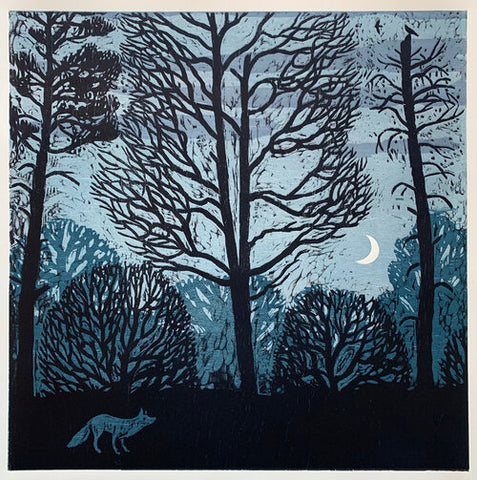 Fox and Crescent Moon 32x32 | Woodblock Print