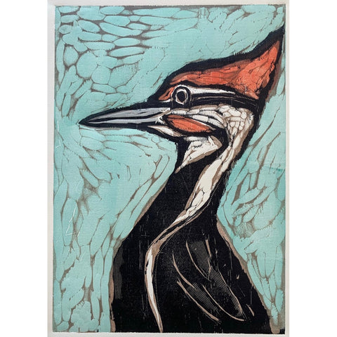 Pileated Portrait 16x20 | Woodblock Print