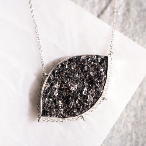 Druzy Biotite Marquise Necklace